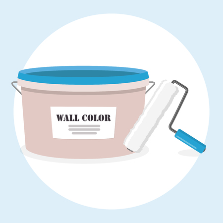 wall paint with brush brush roller flat design icon Vector illustration. Illustration