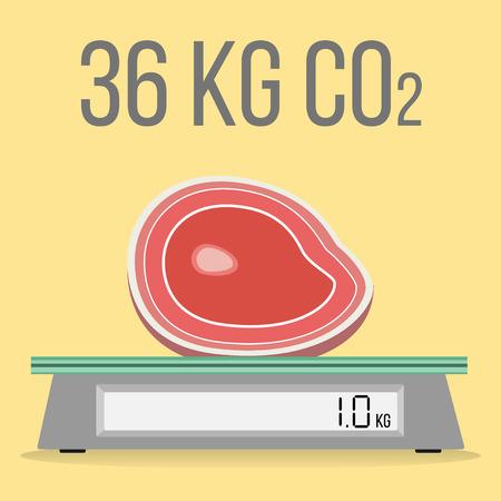 1 kilogram of beef releases 36 kg CO2 flat design icon Vector illustration.