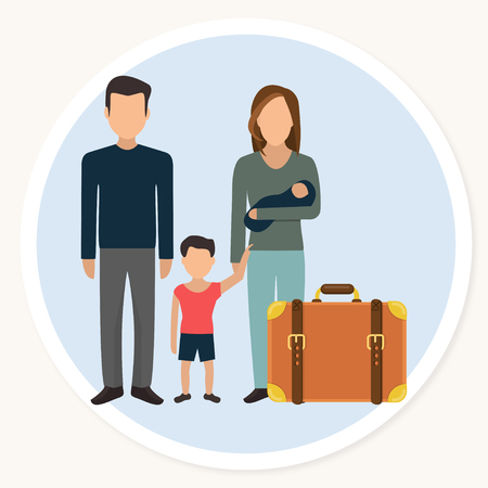 refugee family with child and luggage flat design icon Vector illustration. Vettoriali