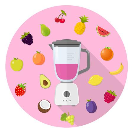 mixer with fruit flat design icon