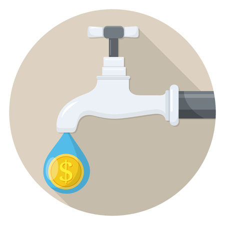tap water costs flat design icon Illustration