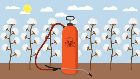 Pesticides and chemicals used on cotton plantation flat design Illustration