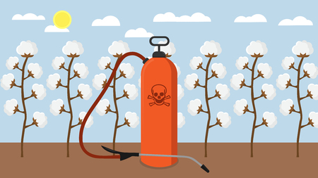 Pesticides and chemicals used on cotton plantation flat design Illustration