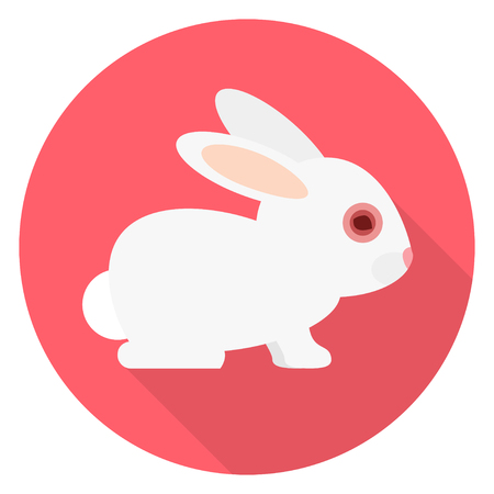 Animal testing toxic substance in the eye of a bunny flat design Vector illustration.