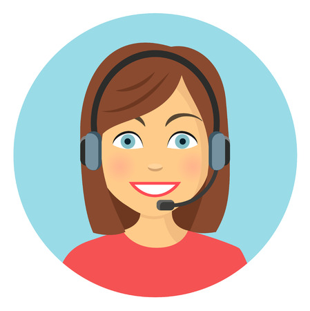 business woman in call center flat design icon Vector illustration.