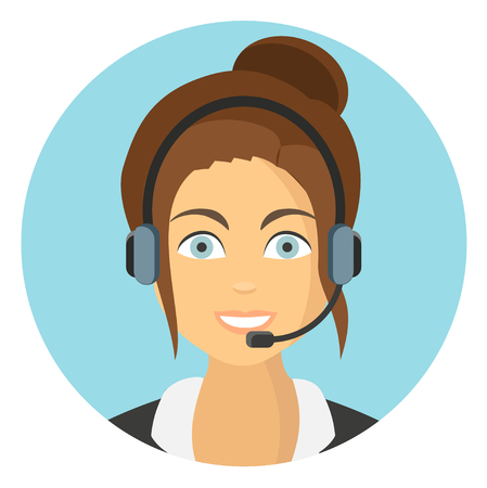 Business woman in call center flat design icon