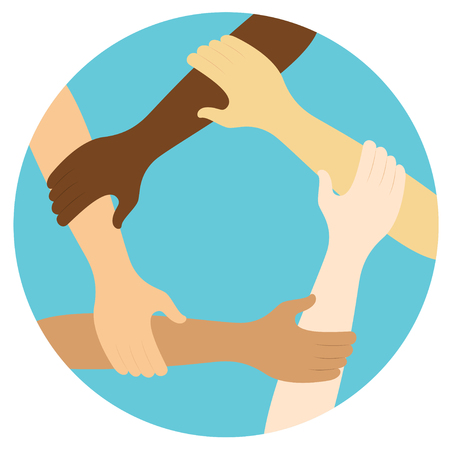 teamwork symbol ring of hands flat design icon Vector illustration. Ilustração