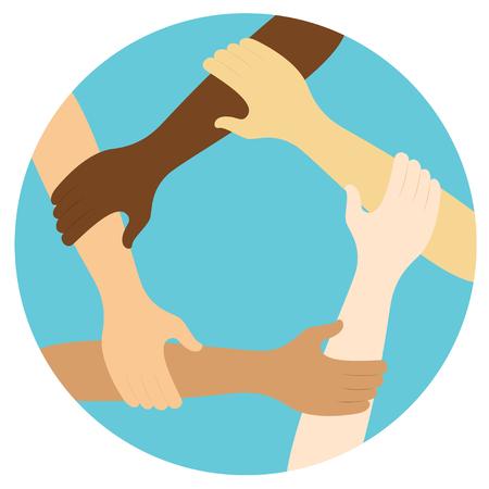 teamwork symbol ring of hands flat design icon Vector illustration. Stock Illustratie