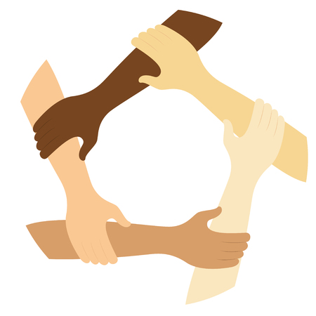 teamwork symbol ring of hands flat design icon Vector illustration. Vectores