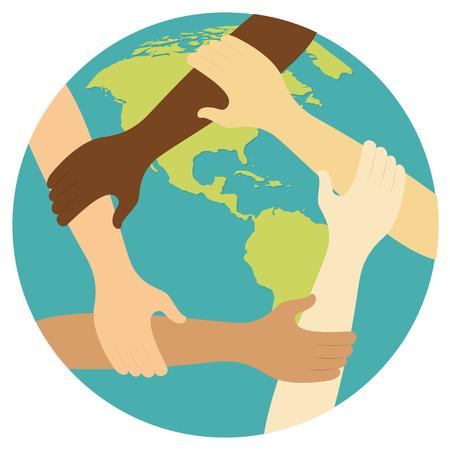 anello simbolo di lavoro di squadra dell'icona di design piatto mani illustrazione vettoriale.