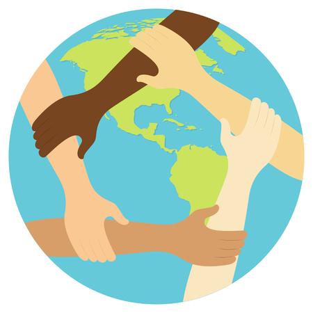 symbol pracy zespołowej pierścień ręce Płaska konstrukcja ikona Ilustracja wektorowa.