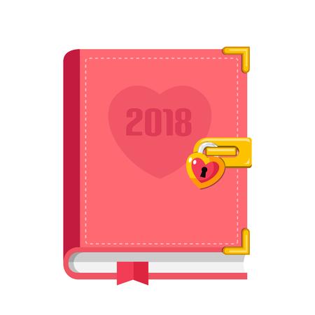 pink planner 2018 flat design icon Illustration