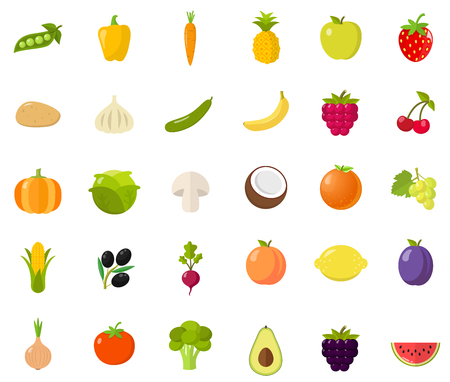 fruits and vegetables flat design isolated on white background