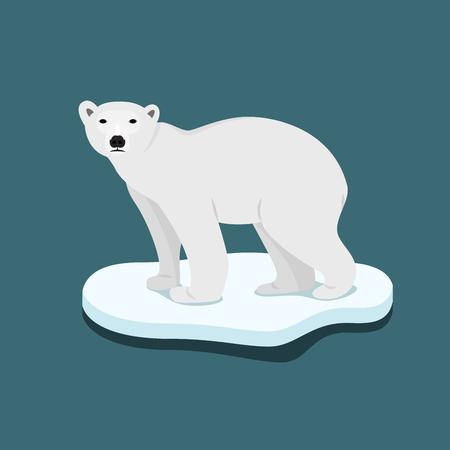 Ice bear on floe climate change catastrophe melting ice vector flat design Stock Illustratie