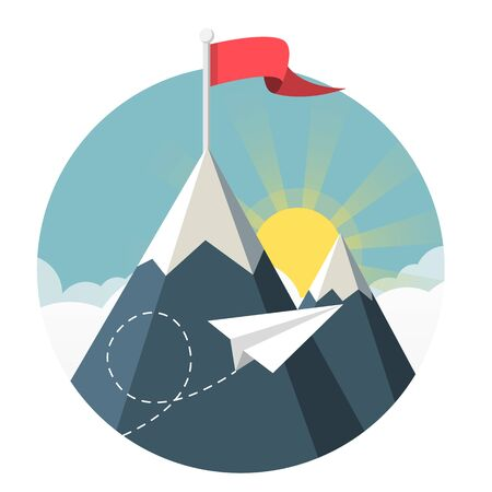 paper airplane flying over clouds with sea and mountains flat design icon