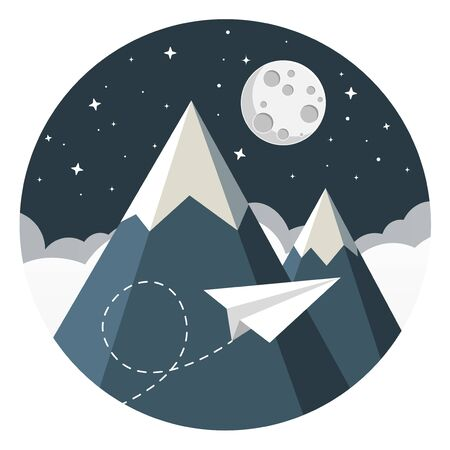 Paper airplane flying over clouds with moon and mountains flat design icon.