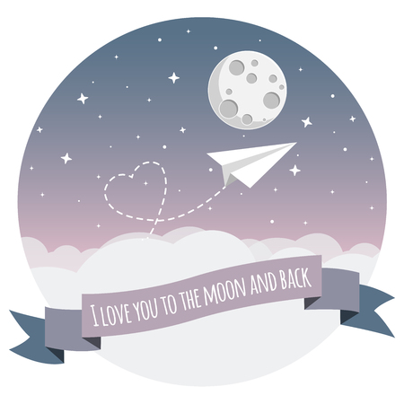 paper airplane flying over clouds to the moon with heart flat design icon Illustration