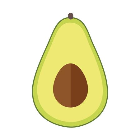 Avocado flat design isolated on white background. 向量圖像