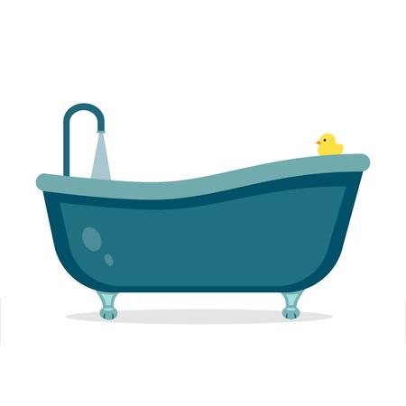Nostalgic bath with legs flat design.