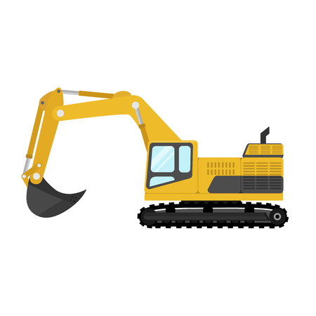Yellow digger flat design. Illustration