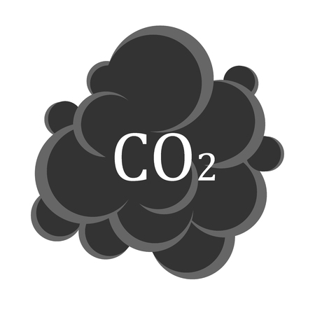 Carbon dioxide cloud carbonic acid gas icon flat design isolated on white background