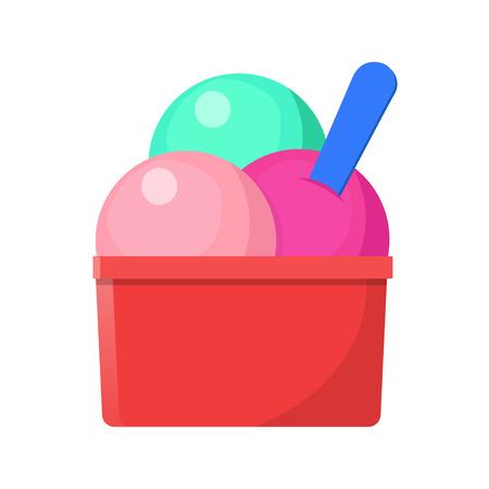 Ice cream in a plastic cup icon flat design