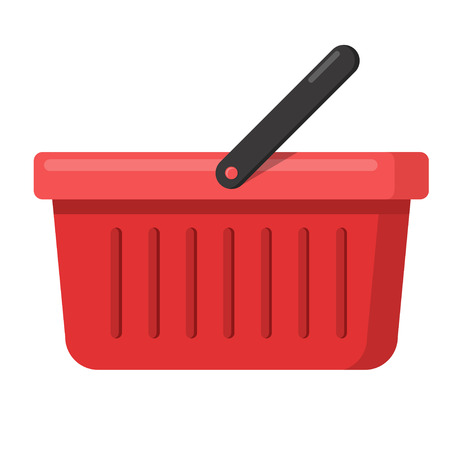 Empty red shopping basket icon flat design