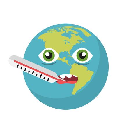 Icône de la terre de réchauffement climatique Vecteurs