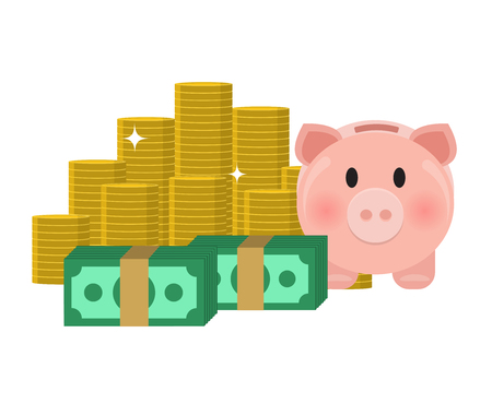 money coins piggybank flat design isolated on white background 向量圖像