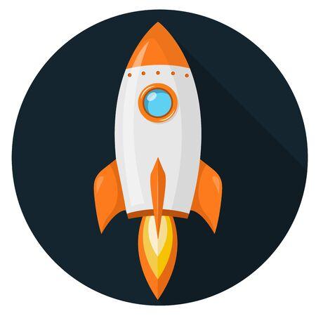 Rocket flat design icon isolated on white background