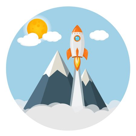 rocket over mountains sunny sky flat design icon