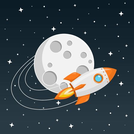rocket flies around the moon flat design icon