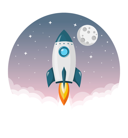 Rocket tiles to the moon purple sky flat design icon isolated on white background 向量圖像