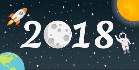 2018 space happy new year flat design