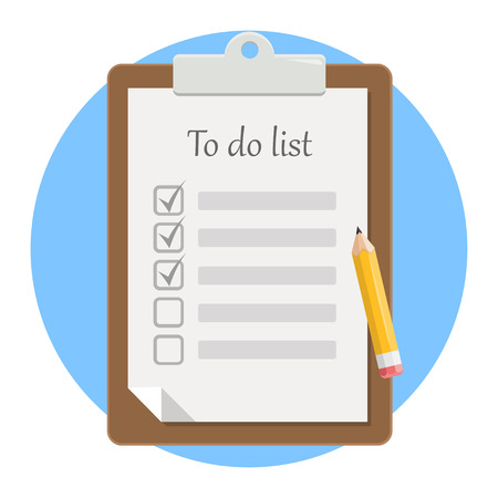 Notepad to do list with pencil flat design icon