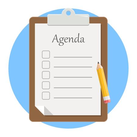 Notepad agenda with pencil flat design icon isolated on white background Illustration