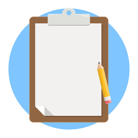 notepad blank paper with pencil flat design icon isolated on white background