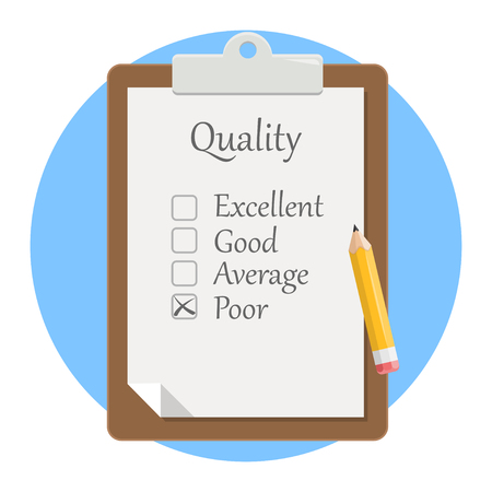 Quality check clipboard flat design icon isolated on white background