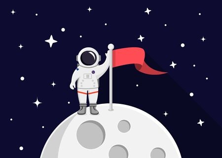 Moon with flag, astronaut and stars flat design icon
