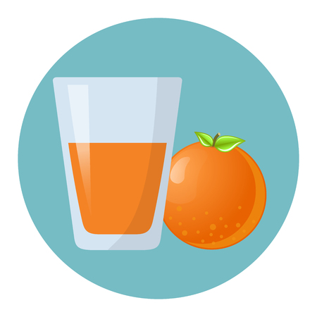 Orange juice with glass and orange flat design icon 向量圖像
