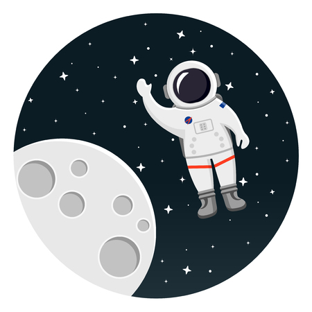 Moon with astronaut and stars flat design icon.
