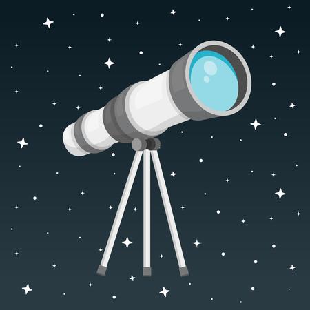 Telescope with night sky flat design 向量圖像
