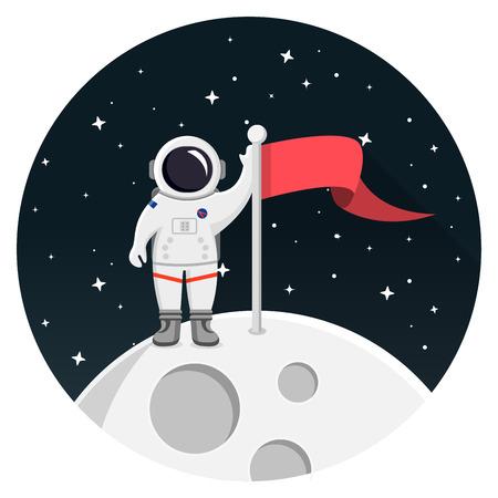 Moon with astronaut and stars illustration design. 向量圖像