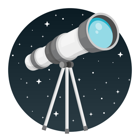Telescope with night sky flat design Çizim