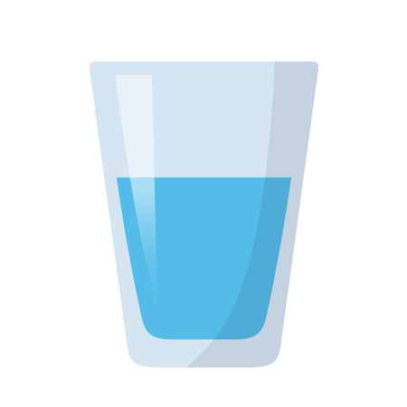 Glass of water flat design isolated on white background 向量圖像