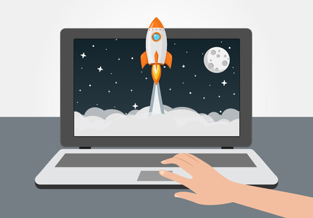 rocket launch from laptop flat design icon 向量圖像