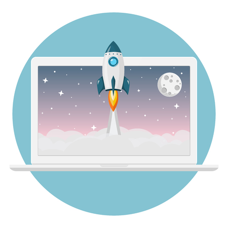rocket launch from laptop flat design icon Çizim
