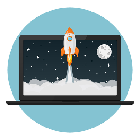 rocket launch from laptop flat design icon Illustration