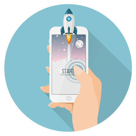 rocket launch from smartphone flat design icon