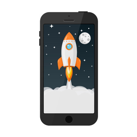 rocket launch from smart phone flat design icon